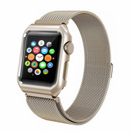 2-IN-1 Aluminum Bumper Case and Stainless Steel Mesh Magnetic Watch Band for Apple Watch 42mm - Gold