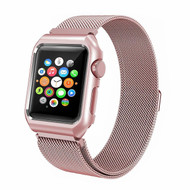2-IN-1 Aluminum Bumper Case and Stainless Steel Mesh Magnetic Watch Band for Apple Watch 42mm - Rose Gold