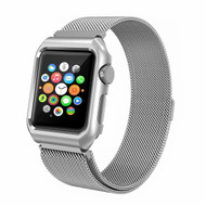 2-IN-1 Aluminum Bumper Case and Stainless Steel Mesh Magnetic Watch Band for Apple Watch 42mm - Silver