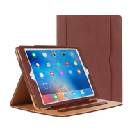 Slim Folding Stand Smart Leather Folio Case and Screen Protector for iPad (2018/2017) / iPad Air - Brown
