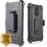 3-IN-1 Rugged Hybrid Kickstand Case with Holster and Tempered Glass Screen Protector for LG Stylo 4 - Black