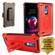 3-IN-1 Rugged Hybrid Kickstand Case with Holster and Tempered Glass Screen Protector for LG K30 - Red