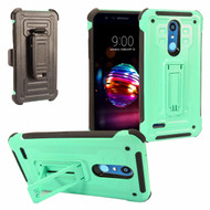 3-IN-1 Rugged Hybrid Kickstand Case with Holster and Tempered Glass Screen Protector for LG K30 - Mint Green
