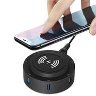 2-IN-1 6 USB Ports Power Hub Charger Station with Qi Wireless Charging Pad - Black