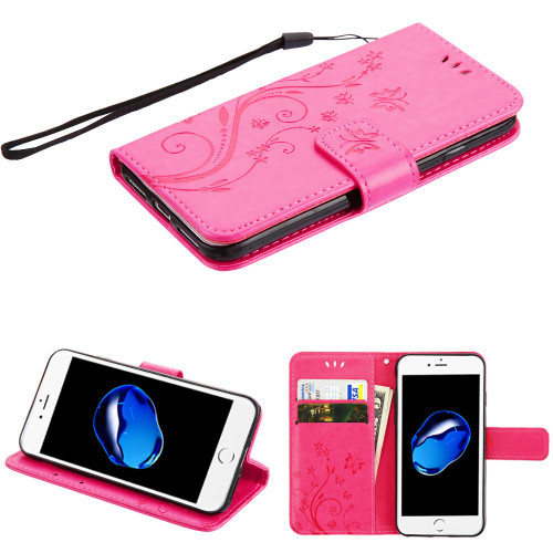 Embossed Butterfly Flower Leather-Style Wallet Stand Case for iPhone 8 / 7 - Hot Pink