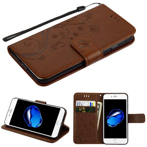 Embossed Butterfly Flower Leather-Style Wallet Stand Case for iPhone 8 / 7 - Brown
