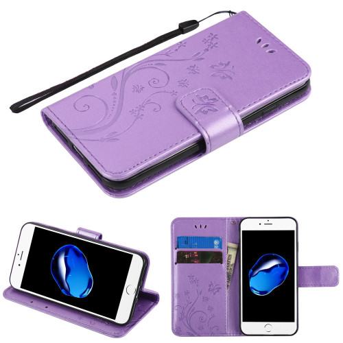 Embossed Butterfly Flower Leather-Style Wallet Stand Case for iPhone 8 / 7 - Purple