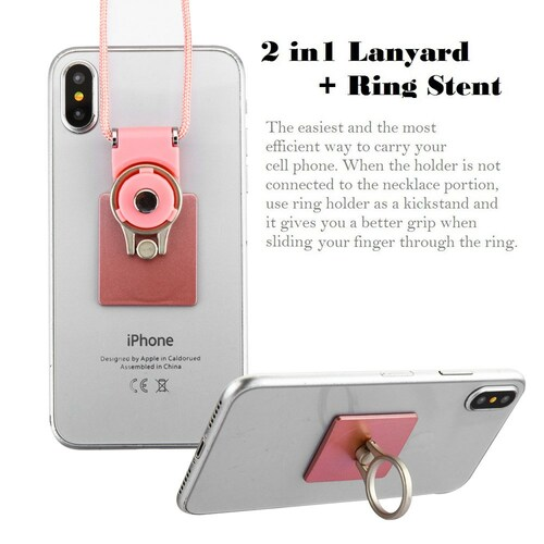 2-IN-1 Smart Loop Universal Smartphone Holder & Stand with Lanyard - Square Rose Gold