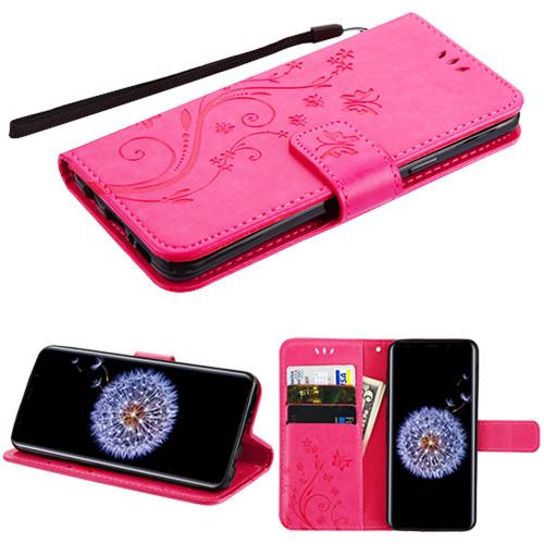 Embossed Butterfly Flower Leather-Style Wallet Stand Case for Samsung Galaxy S9 - Hot Pink