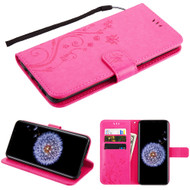 Embossed Butterfly Flower Leather-Style Wallet Stand Case for Samsung Galaxy S9 Plus - Hot Pink
