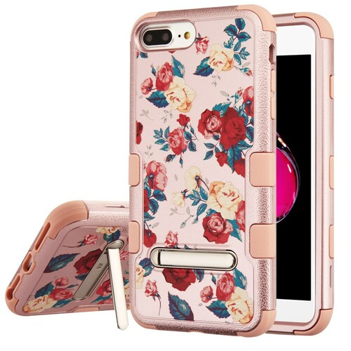 Military Grade Certified TUFF Hybrid Armor Case with Stand for iPhone 8 Plus / 7 Plus / 6S Plus / 6 Plus - Red and White Roses