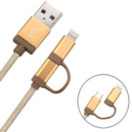 2-IN-1 Lightning and Micro USB Connector Charging & Sync Cable - Gold