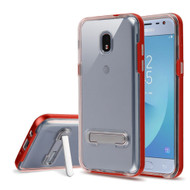 Bumper Shield Clear Transparent TPU Case with Magnetic Kickstand for Samsung Galaxy J3 (2018) - Red