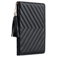 Luxury Chevron Quilted Smart Leather Stand Case with Auto Sleep / Wake for iPad (2018/2017) / iPad Air 2 - Black