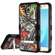 Military Grade Certified TUFF Image Hybrid Armor Case with Stand for Samsung Galaxy J7 (2018) - Oak Leaves Hunting Camouflage