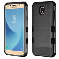 Military Grade Certified Brushed TUFF Hybrid Armor Case for Samsung Galaxy J7 (2018) - Black