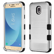 Military Grade Certified Brushed TUFF Hybrid Armor Case for Samsung Galaxy J7 (2018) - Silver