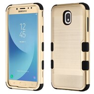 Military Grade Certified Brushed TUFF Hybrid Armor Case for Samsung Galaxy J7 (2018) - Gold