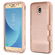 Military Grade Certified Brushed TUFF Hybrid Armor Case for Samsung Galaxy J7 (2018) - Rose Gold 707