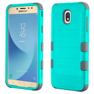 Military Grade Certified Brushed TUFF Hybrid Armor Case for Samsung Galaxy J7 (2018) - Teal Green Iron Grey