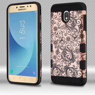 Military Grade Certified TUFF Trooper Dual Layer Hybrid Case for Samsung Galaxy J7 (2018) - Four Leaves Clover Rose Gold