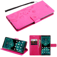 Embossed Butterfly Flower Leather-Style Wallet Stand Case for Samsung Galaxy Note 9 - Hot Pink
