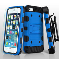 Military Grade Certified Storm Tank Hybrid Case with Holster and Tempered Glass Screen Protector for iPhone SE / 5S / 5 - Blue
