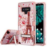 Military Grade Certified TUFF Image Hybrid Armor Case with Stand for Samsung Galaxy Note 9 - Paris in Full Bloom Rose Gold