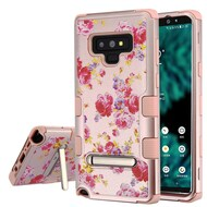 Military Grade Certified TUFF Image Hybrid Armor Case with Stand for Samsung Galaxy Note 9 - Vintage Roses Rose Gold