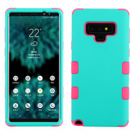 Military Grade Certified TUFF Hybrid Armor Case for Samsung Galaxy Note 9 - Teal Green Electric Pink