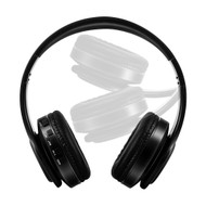 Digital MP3 Foldable Bluetooth V4.2 Wireless On-Ear Headphones with Microphone - Black