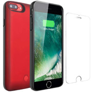 Smart Power Bank Battery Charger Case 2500mAh with Tempered Glass Screen Protector for iPhone 8 / 7 / 6S / 6 - Red