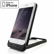 Apple MFi Certified Smart Power Bank Battery Charger Case 2500mAh with Integrated Desk Stand for iPhone 6 / 6S - Black