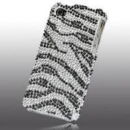 *SALE* Bling Bling Diamante Case and Screen Protector for iPhone 4 / 4S (Zebra Black Silver)