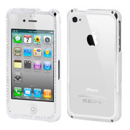 Chrome Plated Die-Cast Metal Bumper Case and Screen Protector for iPhone 4 / 4S - Diamond