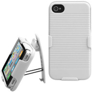Armor Shell Case with Holster Combo and Screen Protector for iPhone 4 / 4S - White