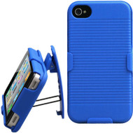 Armor Shell Case with Holster Combo and Screen Protector for iPhone 4 / 4S - Blue