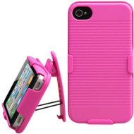 Armor Shell Case with Holster Combo and Screen Protector for iPhone 4 / 4S - Pink