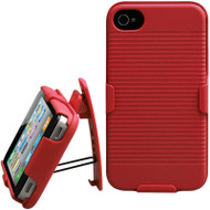 *SALE* Armor Shell Case with Holster Combo and Screen Protector for iPhone 4 / 4S - Red