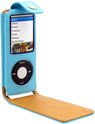 Leather Folio Case for 4th Generation iPod Nano 4G (Blue)