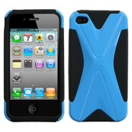 Dual X Hybrid Case and Screen Protector for Apple iPhone 4 / 4S - Black Turquoise