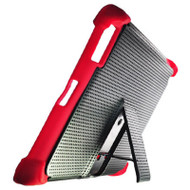 Duo Action Hybrid Case with Kickstand for iPad 2, iPad 3 and iPad 4th Generation - Black Red