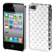 Luxurious Chrome Spot Diamond Case and Screen Protector for iPhone 4 / 4S - White