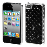 Luxurious Chrome Spot Diamond Case and Screen Protector for iPhone 4 / 4S - Black