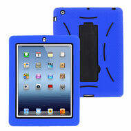 Impact Armor Kickstand Hybrid Case with Integrated Screen Protector for iPad 2, iPad 3 and iPad 4th Generation - Blue