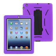 Impact Armor Kickstand Hybrid Case with Integrated Screen Protector for iPad 2, iPad 3 and iPad 4th Generation - Purple