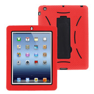 Impact Armor Kickstand Hybrid Case with Integrated Screen Protector for iPad 2, iPad 3 and iPad 4th Generation - Red