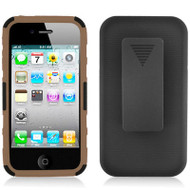 Advanced Armor Hybrid Kickstand Case with Holster and Screen Protector for iPhone 4 / 4S - Black Brown
