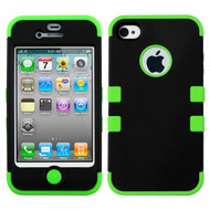 *SALE* Military Grade TUFF Hybrid Case and Screen Protector for iPhone 4 / 4S - Black Green