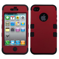Military Grade Certified TUFF Hybrid Case and Screen Protector for iPhone 4 / 4S - Red